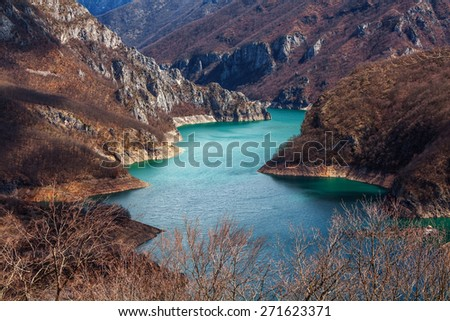 Piva river canyon in Montenegro. - stock photo