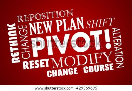 Pivot Change Course New Business Model Words 3d Illustration - stock photo