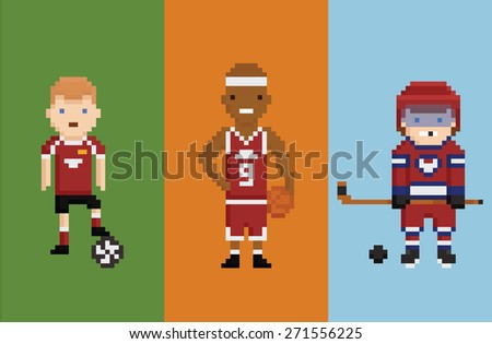 pixel art style illustration - sportsman football basketball hockey with items ball and puck and bandy on play field color background - stock photo