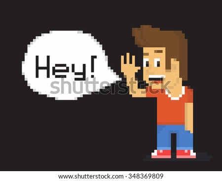 Pixel 8-bit boy wearing t-shirt and jeans with speech bubble and text Hey! isolated on black background - stock photo
