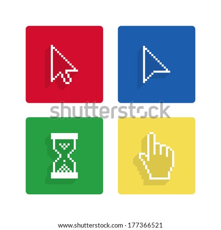 Pixel cursors flat icons - stock photo