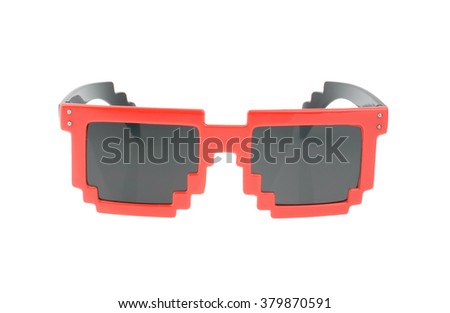 Pixel glasses isolated on white. without shadow - stock photo