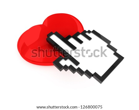 Pixel hand cursor, pointer on heart shaped love button, isolated on white background. - stock photo