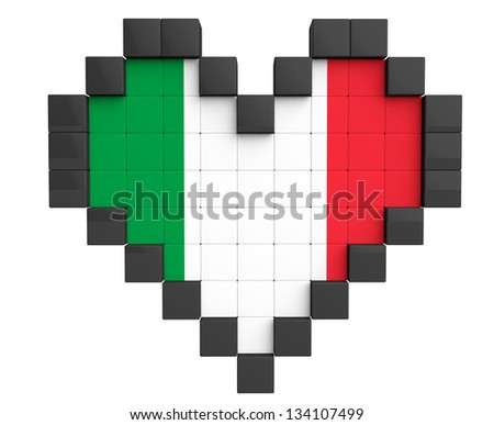 Pixel Heart as Italy Flag on a white background - stock photo