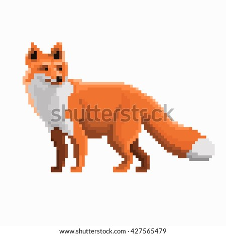 Pixel illustration of red fox