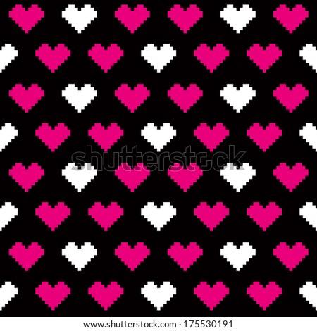 pixel love pattern - stock photo