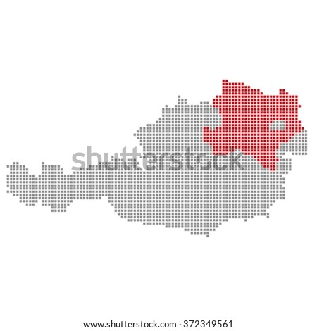 Pixel map of Austria with red and gray pixels showing district Lower Austria