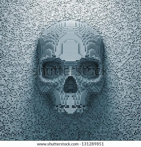 Pixel skull - stock photo
