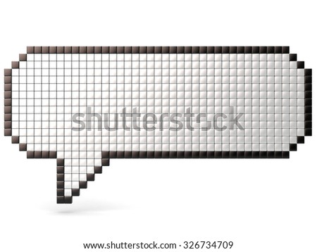 Pixel speech bubble made of glossy cubes. 3D render illustration isolated on white background - stock photo