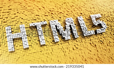 Pixelated acronym HTML5 made from cubes, mosaic pattern - stock photo