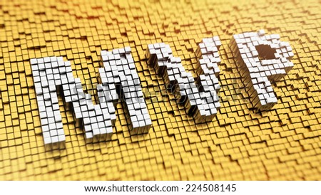 Pixelated acronym MVP made from cubes, mosaic pattern - stock photo