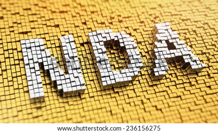 Pixelated acronym NDA made from cubes, mosaic pattern. Non-disclosure agreement - stock photo