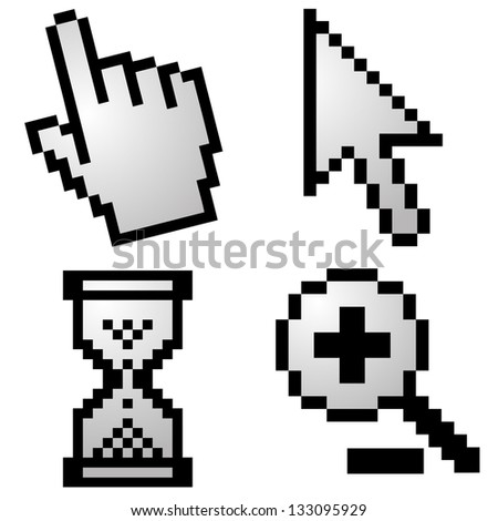 Pixelated computer cursors - stock photo