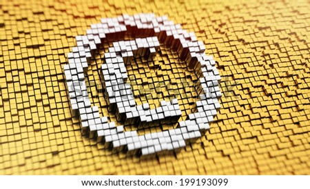 Pixelated copyright symbol made from cubes, mosaic pattern - stock photo