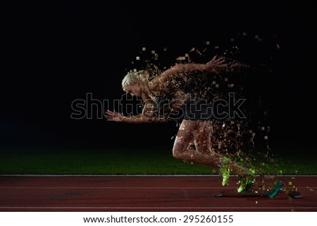 pixelated design of woman  sprinter leaving starting blocks on the athletic  track. Side view. exploding start - stock photo
