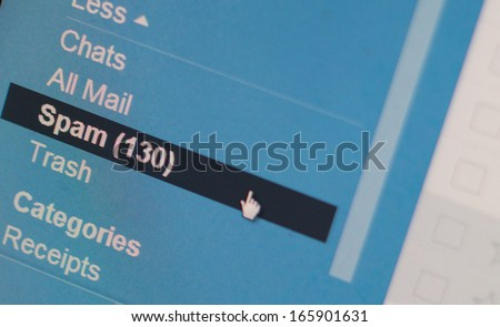 Pixelated E-mail Spam Screenshot, copy space - stock photo