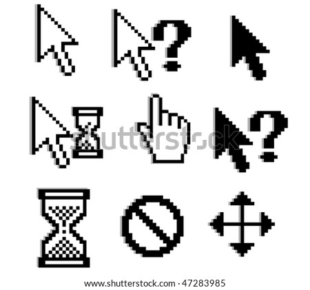 Pixelated graphics for internet and web design. Vector version is also available