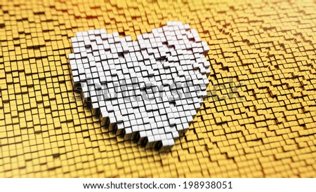 Pixelated heart symbol made from cubes, mosaic pattern - stock photo