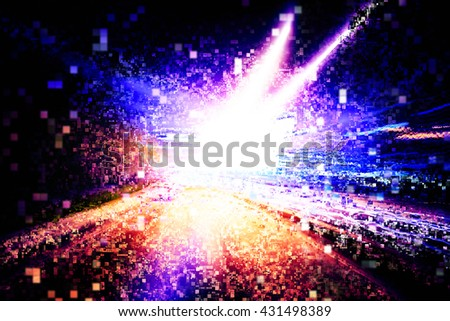 Pixelated light explosion background