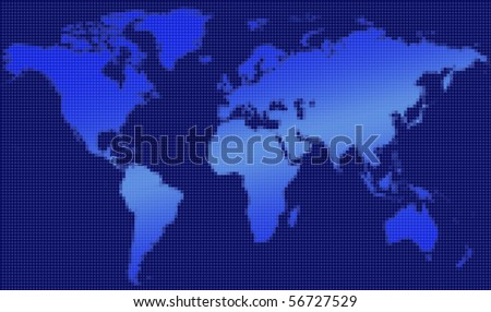 Pixelated map of the world - stock photo