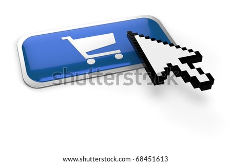 pixelated mouse  pointer on on shopping cart button - stock photo