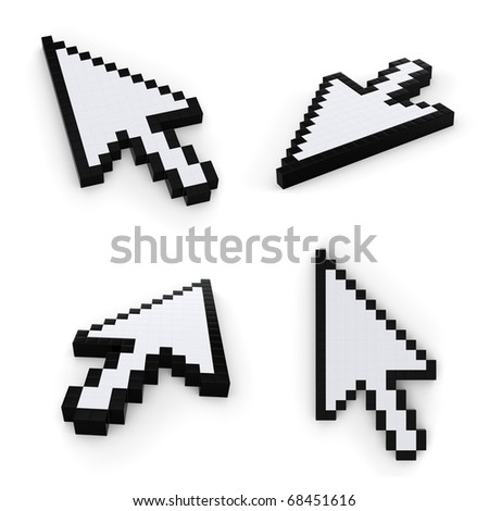 pixelated mouse  pointers on white background