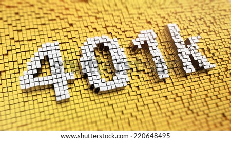 Pixelated number 401k made from cubes, mosaic pattern - stock photo