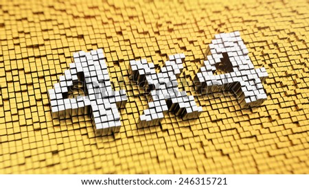 Pixelated sign '4x4' made from cubes, mosaic pattern - stock photo