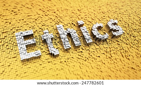 Pixelated word 'Ethics' made from cubes, mosaic pattern - stock photo