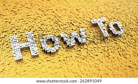 Pixelated word 'How To' made from cubes, mosaic pattern - stock photo