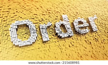 Pixelated word Order made from cubes, mosaic pattern - stock photo