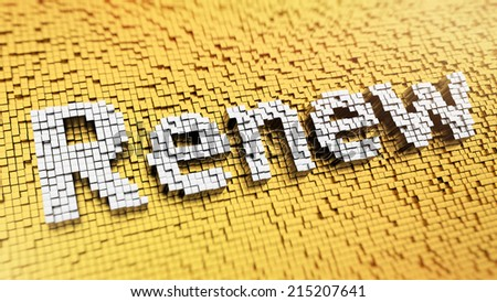 Pixelated word Renew made from cubes, mosaic pattern - stock photo