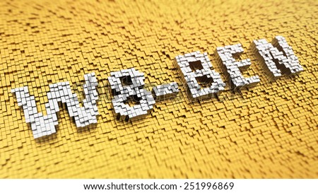 Pixelated word 'W8-BEN' made from cubes, mosaic pattern - stock photo