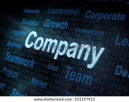 Pixeled word Company on digital screen 3d render - stock photo