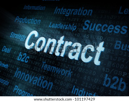 Pixeled word Contract on digital screen 3d render - stock photo