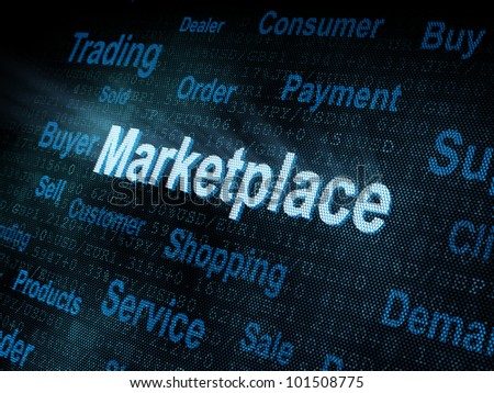 Pixeled word Marketplace on digital screen 3d render - stock photo