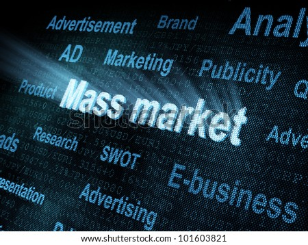 Pixeled word Mass market on digital screen 3d render - stock photo