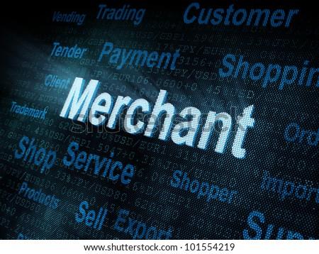Pixeled word Merchant on digital screen 3d render - stock photo