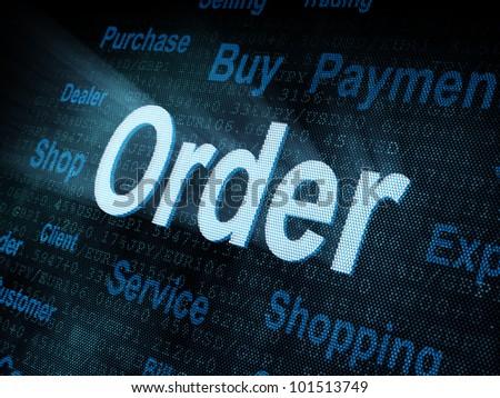 Pixeled word Order on digital screen 3d render - stock photo