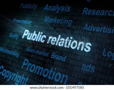 Pixeled word Public relations on digital screen 3d render - stock photo