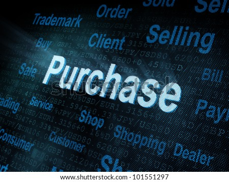 Pixeled Word Purchase On Digital Screen Stock Illustration 101551297 ...