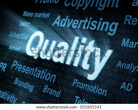 Pixeled word Quality on digital screen 3d render - stock photo