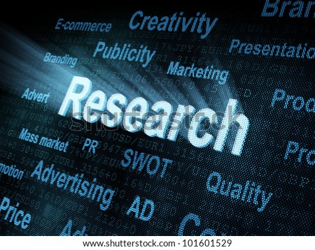 Pixeled word Research on digital screen 3d render - stock photo