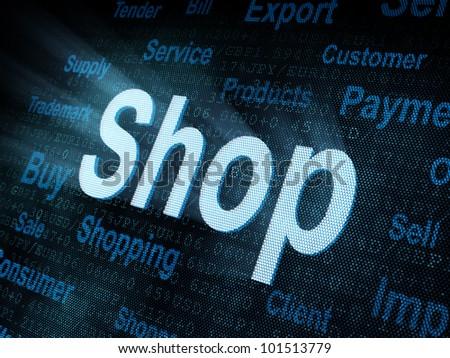 Pixeled word Shop on digital screen 3d render - stock photo