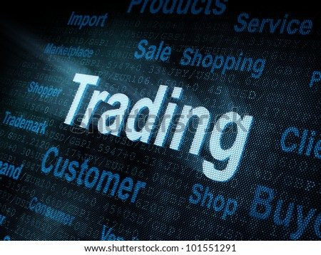 Pixeled word Trading on digital screen 3d render - stock photo