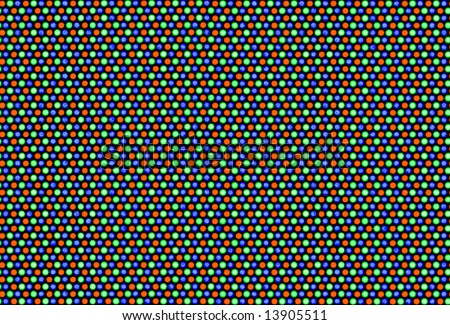 Pixels of cathode ray tube. White area (RGB - 255.255.255). Real macro photo (aboute 4 mm height). Seamless picture. - stock photo
