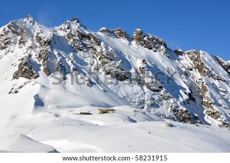 Pizol, famous Swiss skiing resort - stock photo