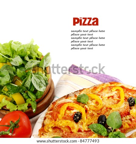Pizza and fresh vegetables isolated on white - stock photo