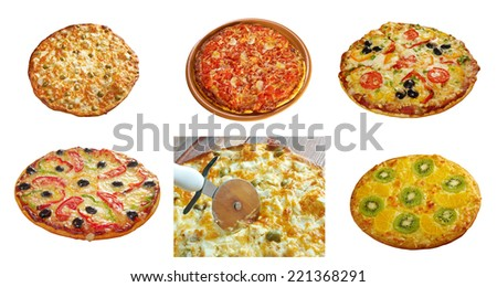 Pizza and italian kitchen. Studio. collage.taking slice of pizza,melted cheese dripping .Food set