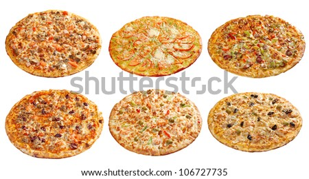 Pizza and italian kitchen. Studio. Isolated on white background. collage